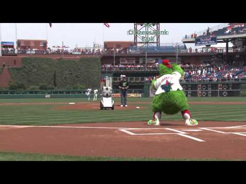 PhillieBot Robot Gives First Pitch at a Phillies Game