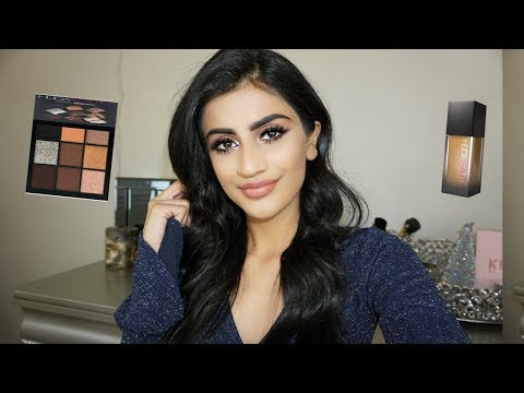 Simple Holiday Makeup GRWM  Huda Beauty Review