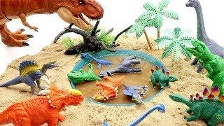 Jurassic World2 Dinosaur into Mud Water!! Learn Dinosaur Names For Kids~ 공룡메카드 진흙