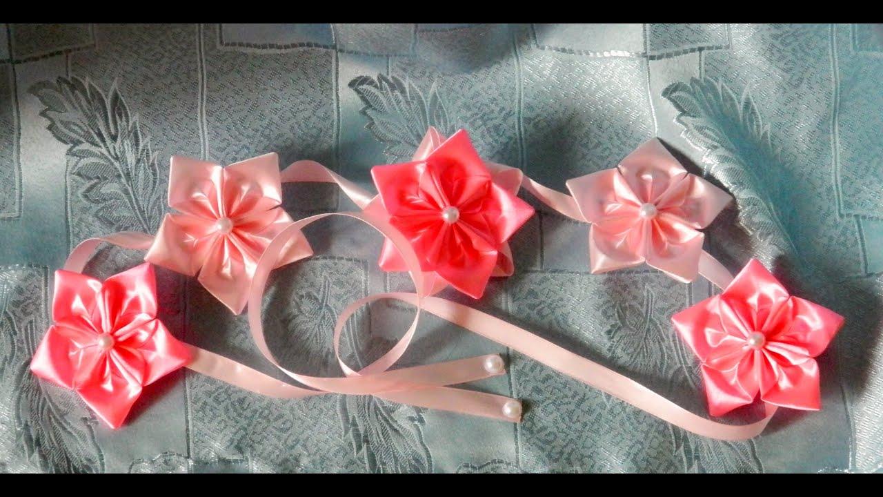 Лента в косу с цветами канзаши мастер класс фото