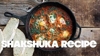 Shakshuka Recipe | eggs poached in a zesty tomato sauce