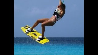 Gyrocopter Girl Kitesurfing in Curacao with Girlfriend