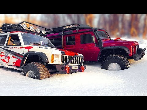 RC Trucks OFF Road Snow Adventures Traxxas TRX4 and Axial SCX10 II Jeep Cherokee 4x4