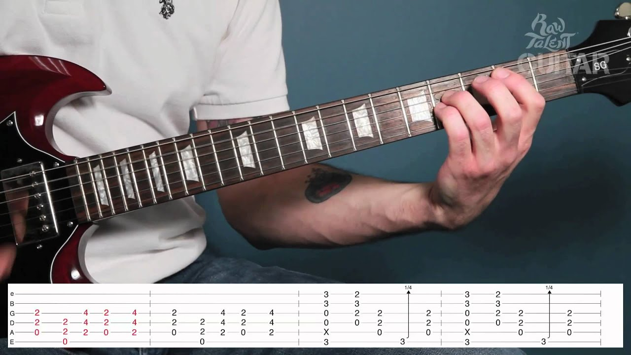 ACDC  Back in Black Guitar Lesson Tutorial  Chords TAB