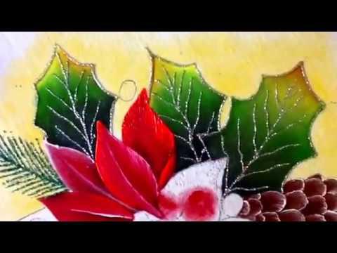 Pintura en tela flor de nochebuena dos con cony youtube - Motivos navidenos para pintar en tela ...