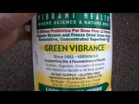 Review Vibrant Health Green Vibrance Drink Beverage Mix Powder Super Food Spirulina Gluten Free