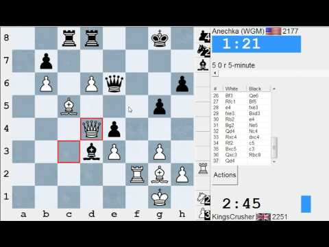 Chess World.net: Blitz #1933 vs WGM Anechka with live commentary - English / Réti opening Opening