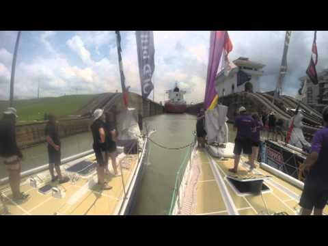 Time lapse of three Clipper Race yachts transiting through the Panama Canal