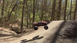 Traxxas E-Revo Goes Flippin Crazy On BMX Trails!!