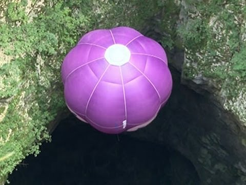 Raw: Balloon Descends to Bottom of Croatian Cave
