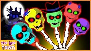 Skeleton Finger Family Rhymes | Funny Colors Rhymes | Scary Nursery Rhymes by Teehee Town
