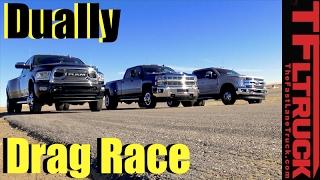 Dually Duel: 2017 Ford F-350 vs Chevy Silverado 3500 vs Ram 3500 Drag Race