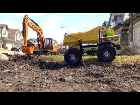 RC ADVENTURES - Earth Digger 4200XL Excavator. RC Tonka Dump Truck. Graupner Liebherr Loader
