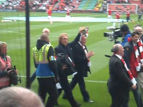 Former Stoke City players parade the pitch for 150th anniversary. 12/05/2013