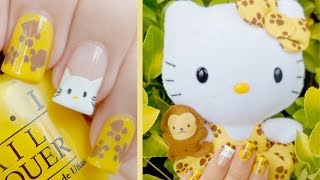 Nail Art - Diseño de uñas Hello Kitty Safari