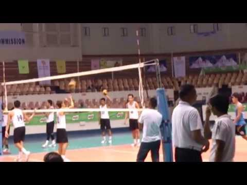 Nu Bulldogs Men's Volleyball Warm-up  Philippine National Games 2013 video