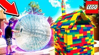 TALLEST LEGO HOUSE vs GIANT HAMSTER BALL! (With Unspeakable)  from Life Of Moose