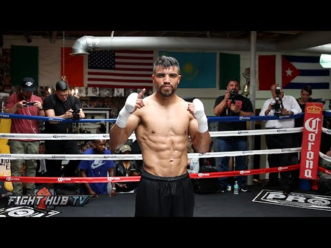 Ortiz vs.Berto 2 video- Victor Ortiz's Complete Media Workout- Blasts pads & shows ripped physique
