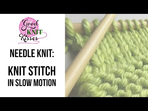Knit stitch in slow motion (needles) - YouTube