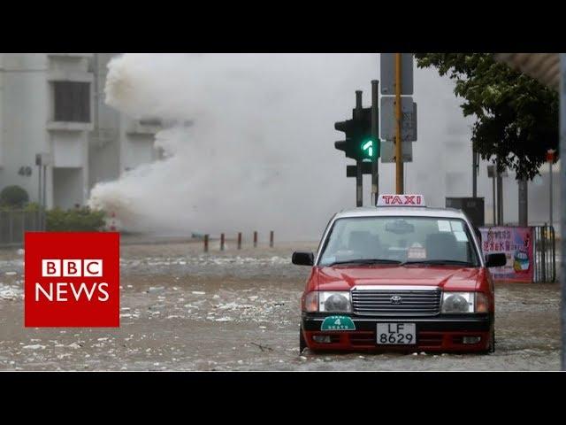Typhoon Hato batters Hong Kong - BBC News
