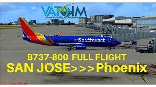 [FSX] Southwest 725 | San Jose - Phoenix | B737-800 | Full Flight | VATSIM