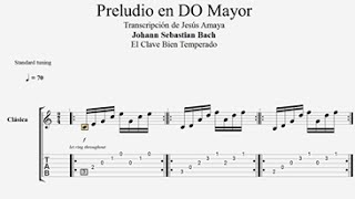 Tablatura Guitarra Bach: Preludio en Do Mayor - Jesús Amaya...