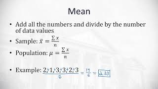 3.1 Measures of Central Tendency Mode, Median, and Mean