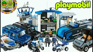 PLAYMOBIL. Toy police vehicles, patrol car, motorcycles, truck, police station, jail.