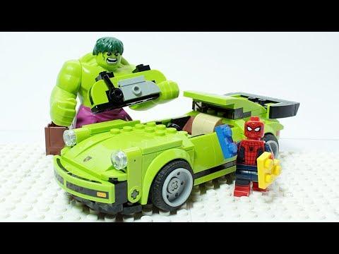 Lego Spider Man and Hulk Brick Building Super Car Porsche 911 Turbo Superheroes Animation