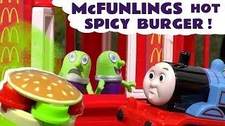 Funny Funlings McDonalds Drive Thru Super Spicy Burger Cooking Food Prank with Thomas Train TT4U