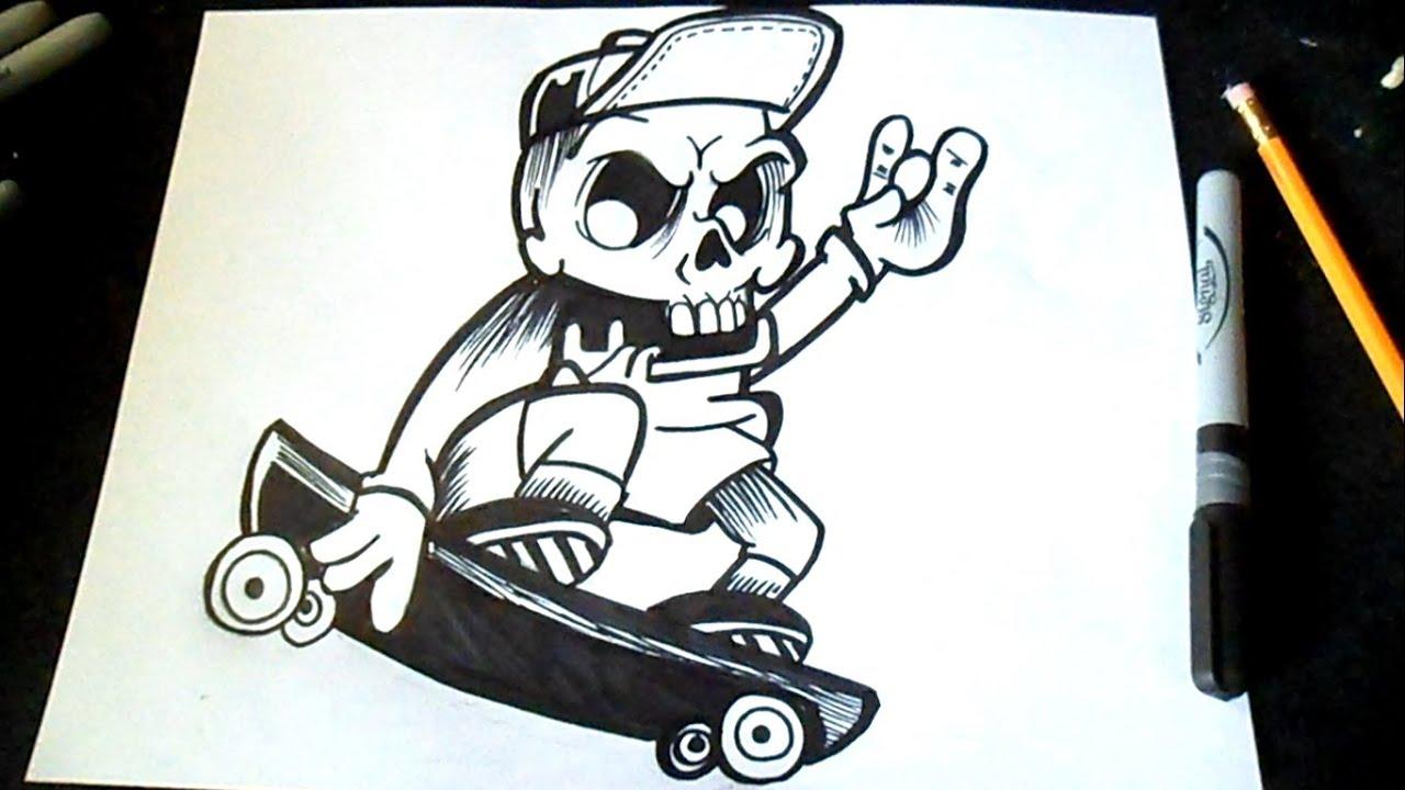 484Нарисованный череп по граффити