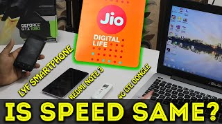 Jio 4G Sim Card SpeedTest In Every 4G Smartphone & Dongle
