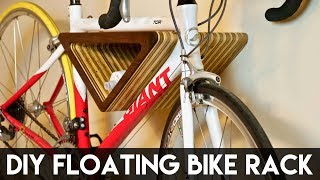 DIY Floating Wall-Mounted Bike Rack | How To Build - Woodworking