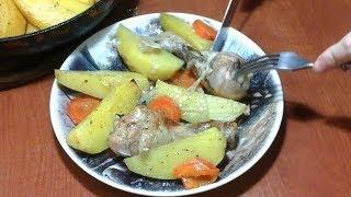 Картошечка с курочкой под фольгой в духовке.Жаркое в сковородке. Healthy food.