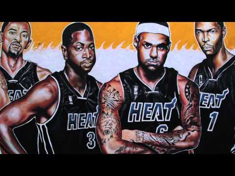 Miami Heat 2012 Champions Graffiti - Lebron James, Dwayne Wade, Chris Bosh - by