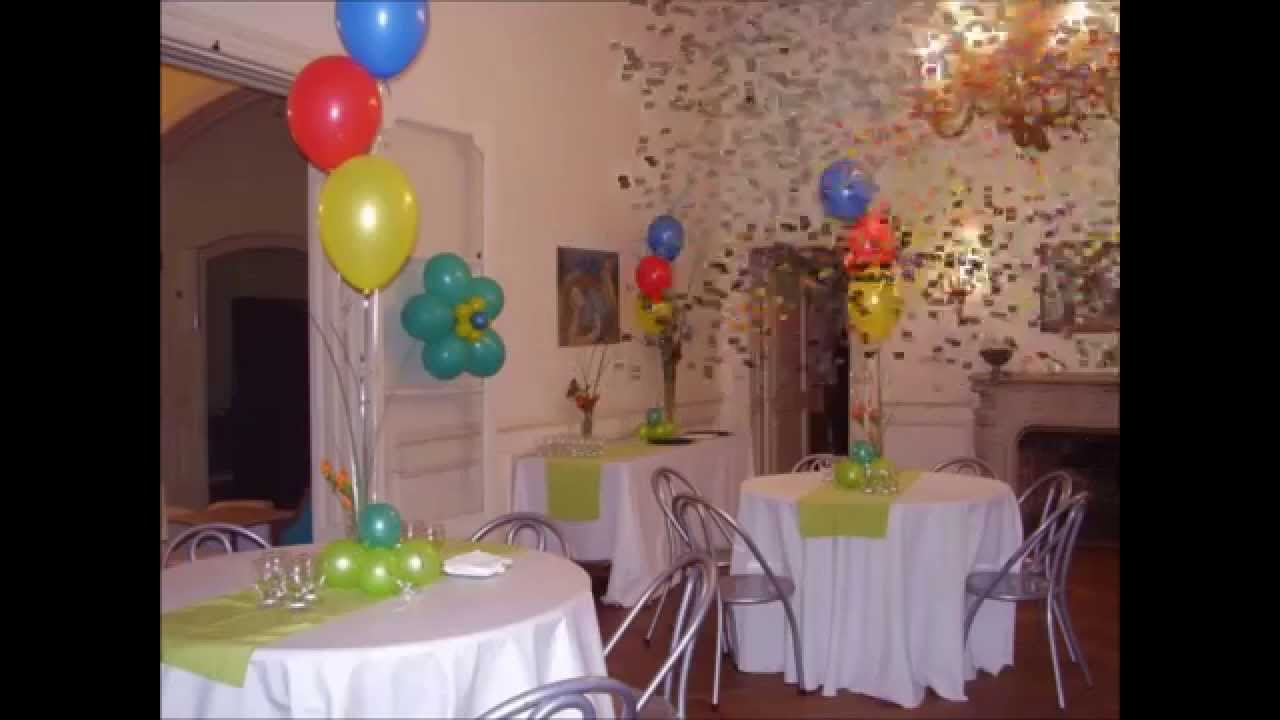 Centros de mesas con globos para bautismos youtube for Centros de mesa para salon