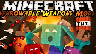 Minecraft Mod Showcase : THROW-ABLE WEAPONS MOD!