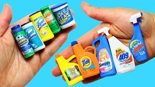 How to make Miniature Cleaning Products- 10 Easy DIY Miniature Doll Crafts