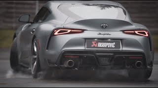 Toyota Supra with an Akrapovič exhaust system