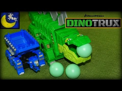 Dinotrux Toys! Garby Eating Rocks and LP Hero Ton Ton Pull Back Racer Toy Review!