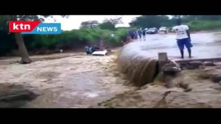 Tragedy: Car washed away by ragging floods as the driver tries to cross flooded bridge