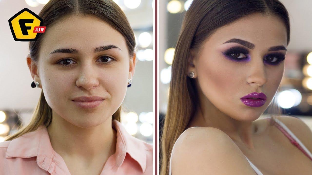 Вечерний макияж для карих глаз до и после фото
