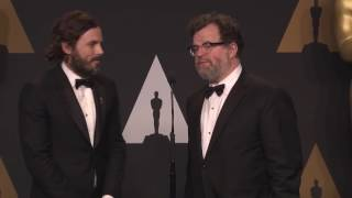 Kenneth Lonergan and Casey Affleck Backstage Interview for Manchester by the Sea Original Screenplay