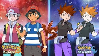 Pokemon Sun and Moon: Ash and Red Vs Gary and Blue (Ash Best Team)