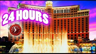 24 HOUR OVERNIGHT CHALLENGE in BELLAGIO DISNEY HOTEL | SNEAKING INTO BELLAGIO OVERNIGHT CHALLENGE!