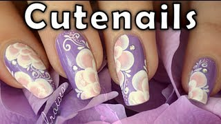 Pink flowers with arabesque designs one stroke nail art by cute nails