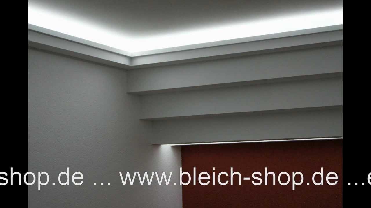 lichtdecke mit led lichtvouten mit indirekter beleuchtung bleich shop gkb lichtdecken youtube. Black Bedroom Furniture Sets. Home Design Ideas