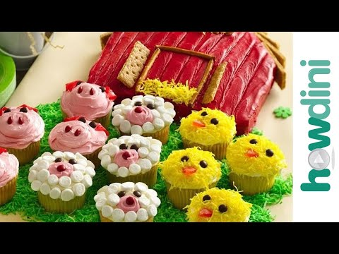 How to make a barn birthday cake and farm animal cupcakes - Farm Torta Készítése