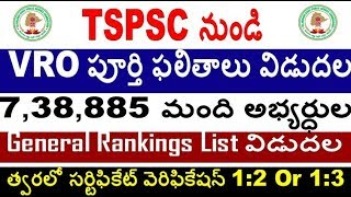 VRO General Rankings list Released from TSPSC For all Aspirants By SRINIVASMech