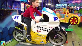 Indoor Playground for kids ride on cars and Sportbike Family fun playtime Toys video for children